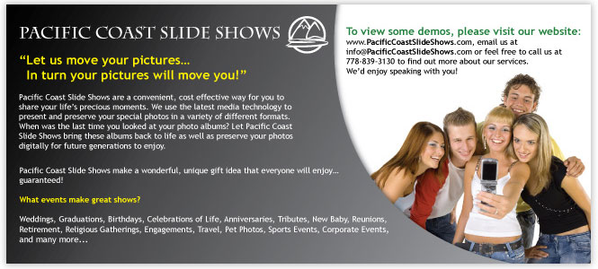 pacific coast slide show flyer graphic design, photography